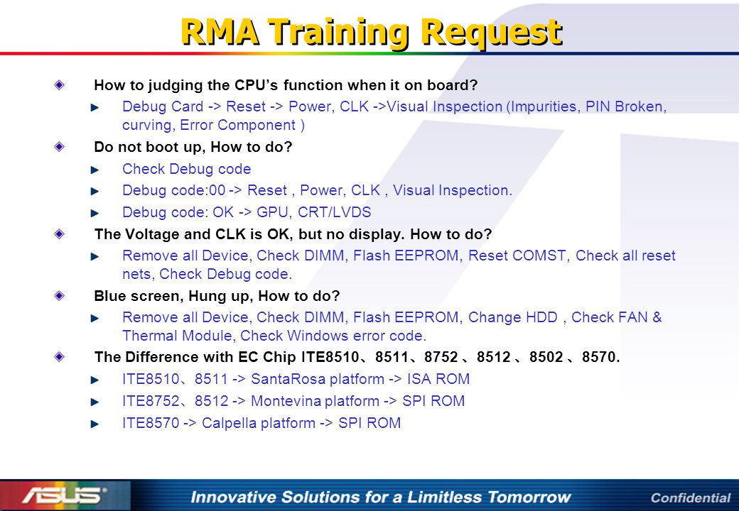RMA Training Request How to judging the CPU's function when it on board