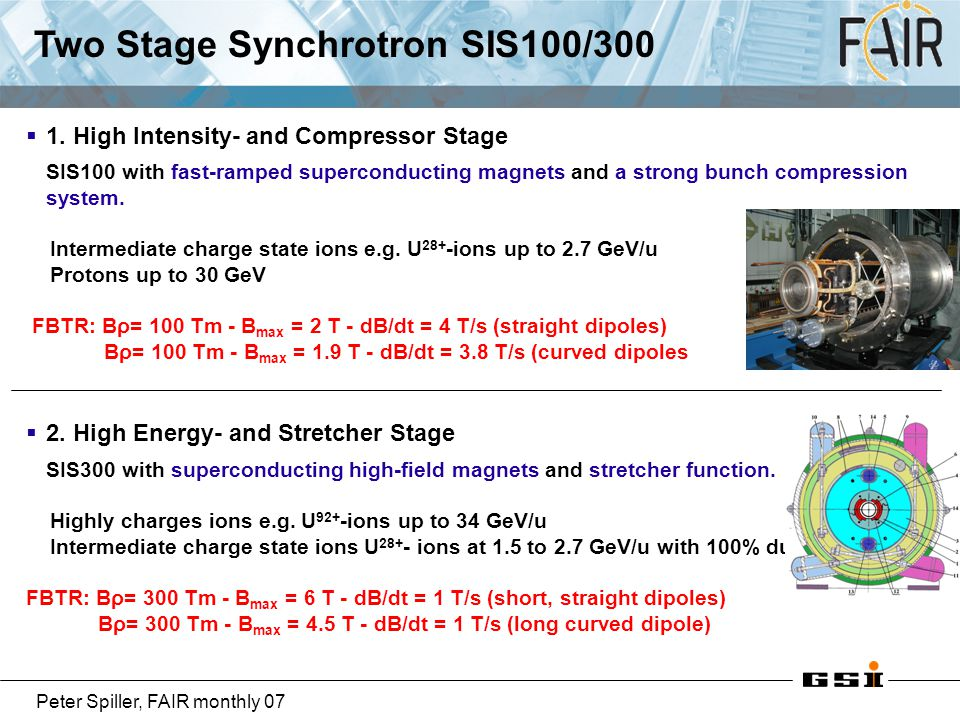 Two Stage Synchrotron SIS100/300