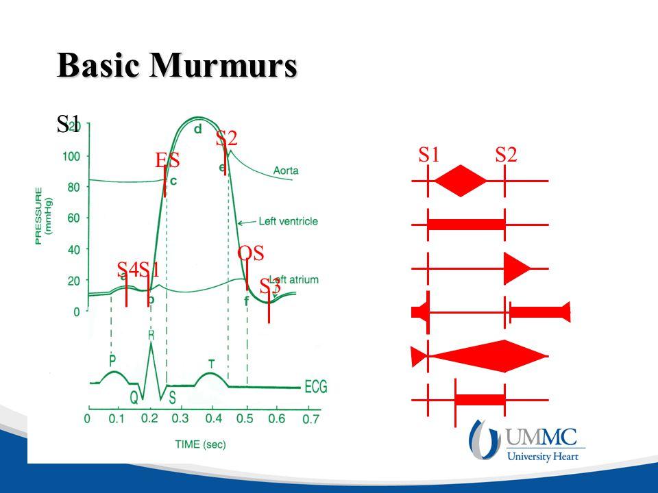 Basic Murmurs S1 S2 S1 S2 ES OS S4 S1 S3