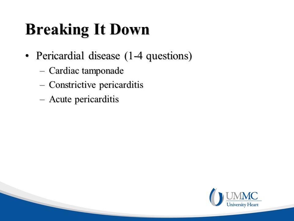 Breaking It Down Pericardial disease (1-4 questions) Cardiac tamponade