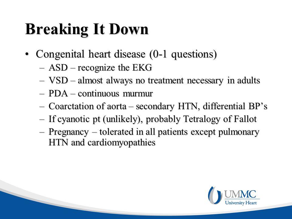 Breaking It Down Congenital heart disease (0-1 questions)