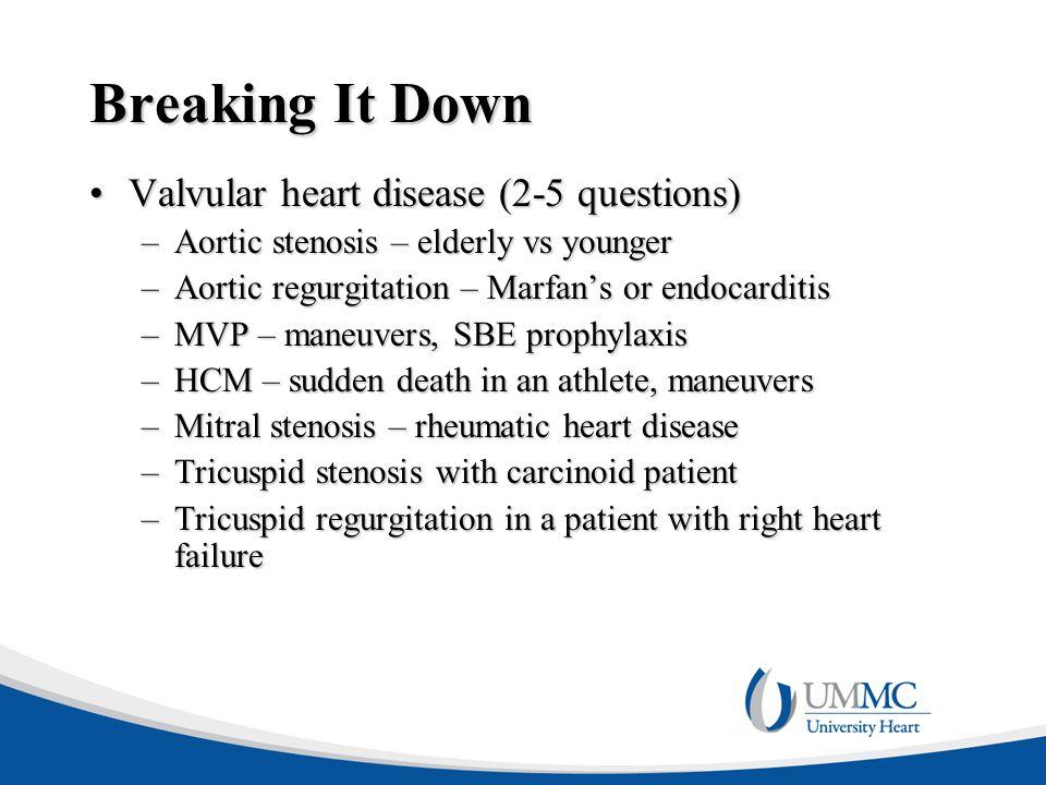Breaking It Down Valvular heart disease (2-5 questions)
