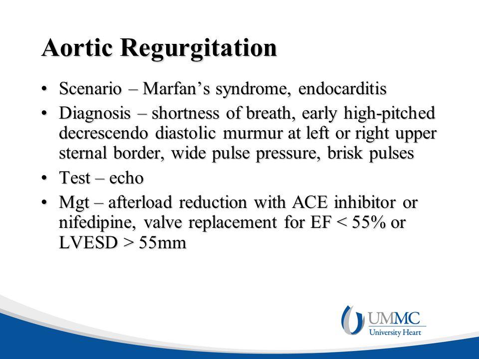 Aortic Regurgitation Scenario – Marfan's syndrome, endocarditis