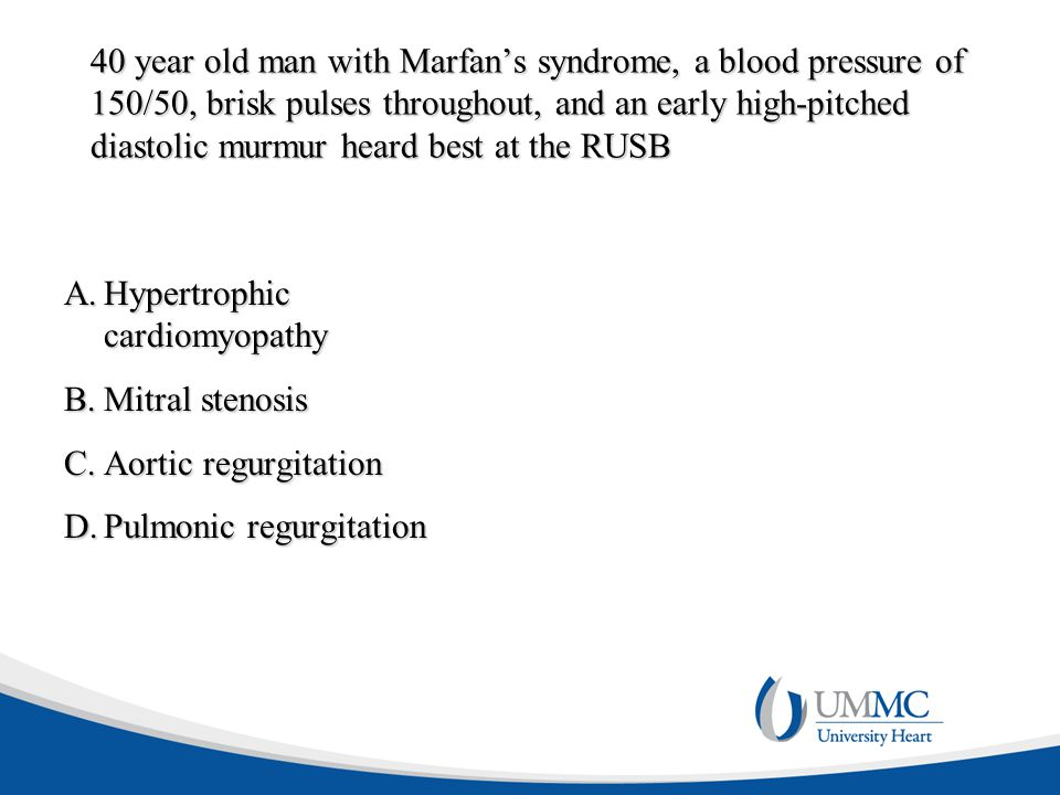 40 year old man with Marfan's syndrome, a blood pressure of 150/50, brisk pulses throughout, and an early high-pitched diastolic murmur heard best at the RUSB