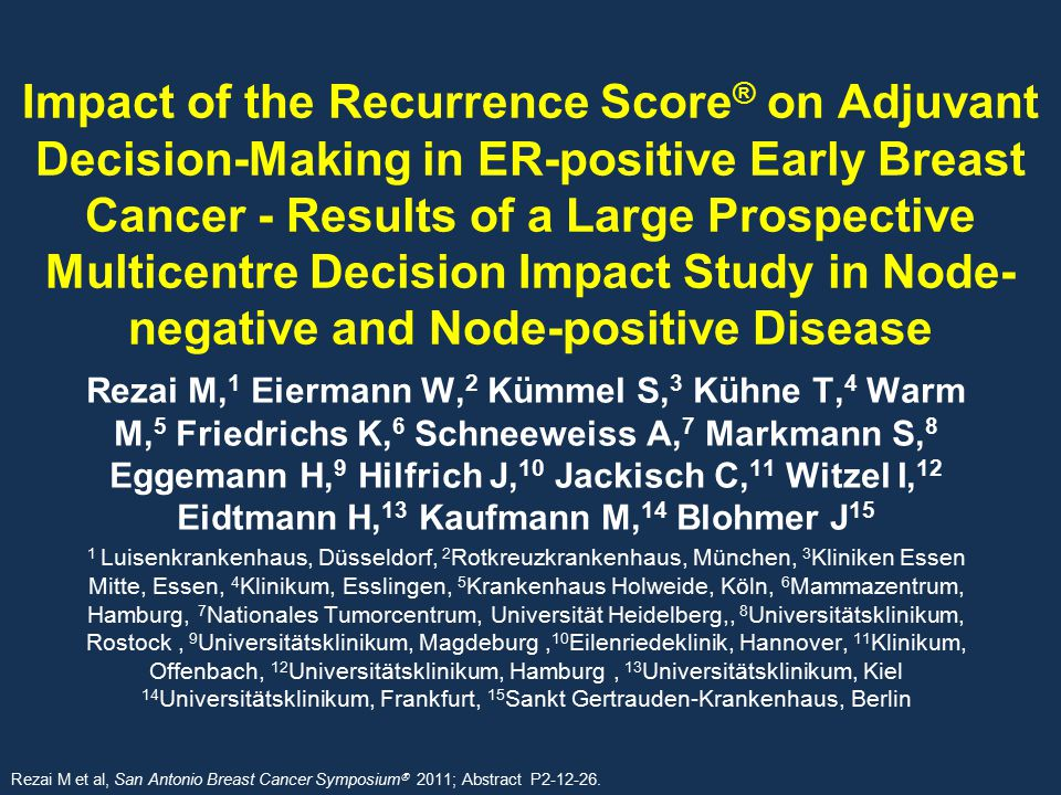 Impact of the Recurrence Score® on Adjuvant Decision-Making in ER-positive Early Breast Cancer - Results of a Large Prospective Multicentre Decision Impact Study in Node-negative and Node-positive Disease