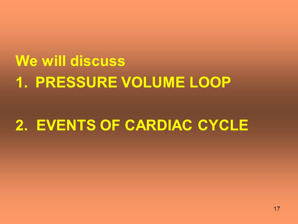 We will discuss PRESSURE VOLUME LOOP 2. EVENTS OF CARDIAC CYCLE