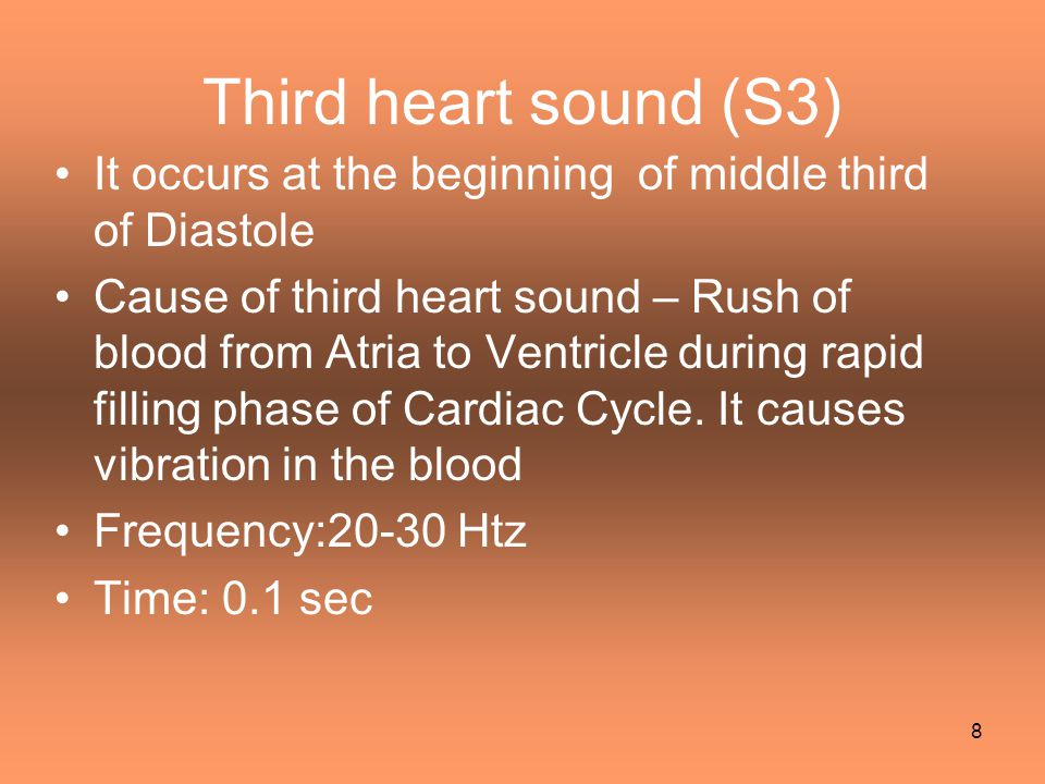 Third heart sound (S3) It occurs at the beginning of middle third of Diastole.