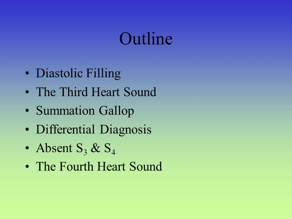 Outline Diastolic Filling The Third Heart Sound Summation Gallop