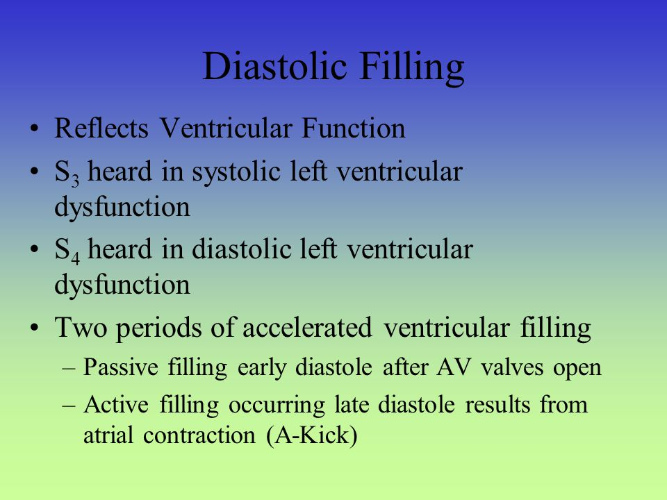 Diastolic Filling Reflects Ventricular Function