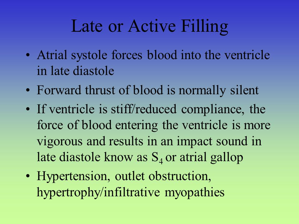 Late or Active Filling Atrial systole forces blood into the ventricle in late diastole. Forward thrust of blood is normally silent.