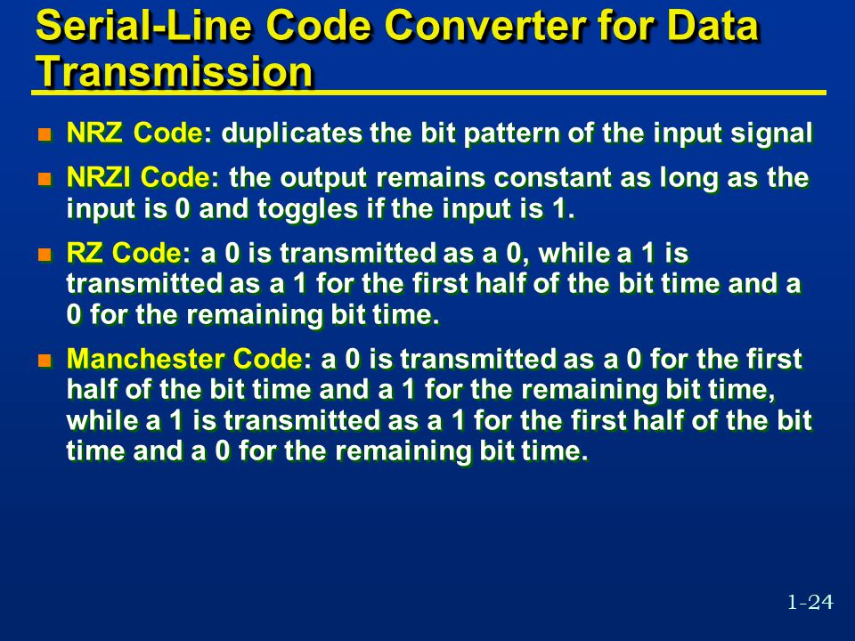 Serial-Line Code Converter for Data Transmission