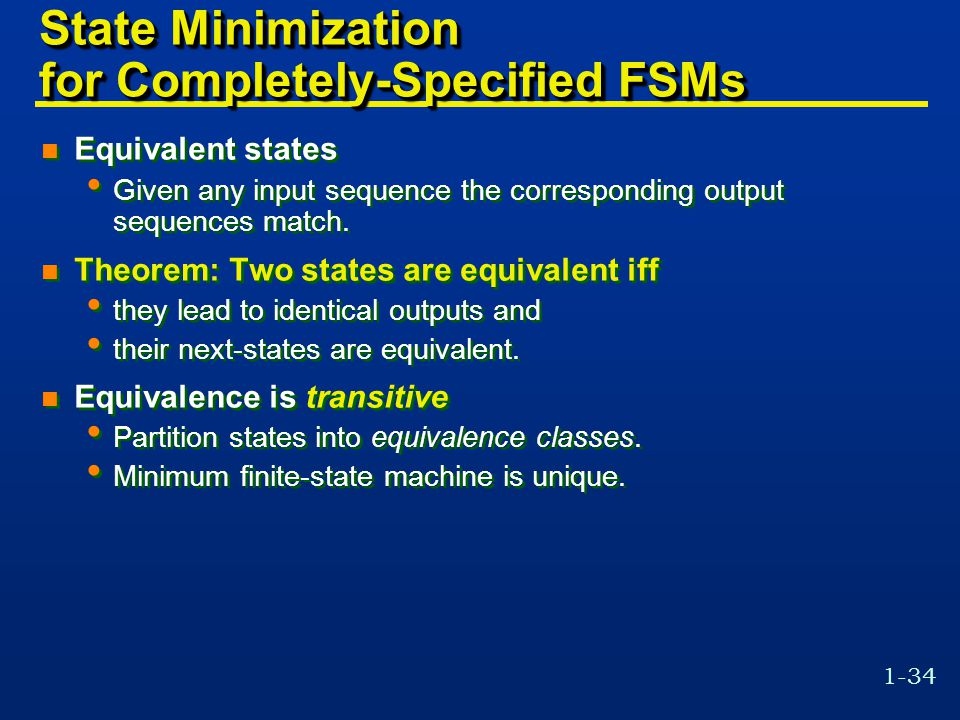 State Minimization for Completely-Specified FSMs