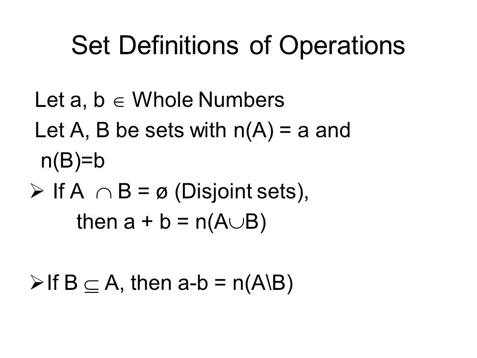 Set Definitions of Operations