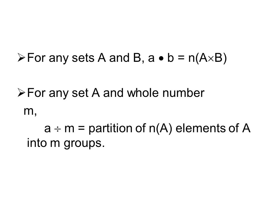 For any sets A and B, a  b = n(AB)