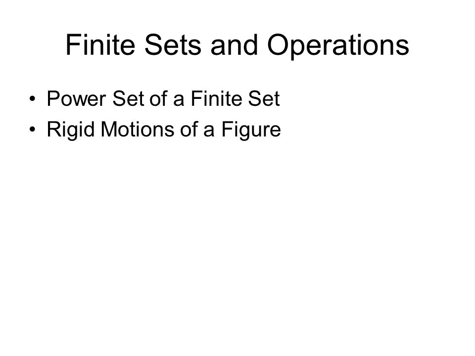 Finite Sets and Operations