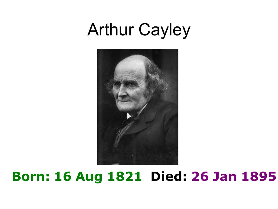 Arthur Cayley Born: 16 Aug 1821 Died: 26 Jan 1895
