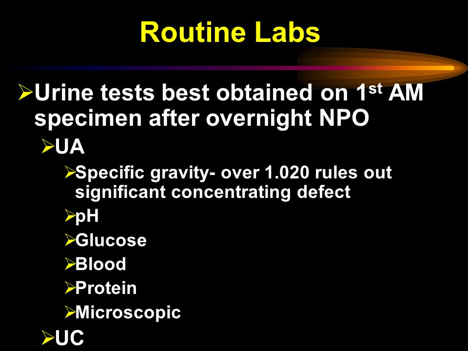 Routine Labs Urine tests best obtained on 1st AM specimen after overnight NPO. UA.