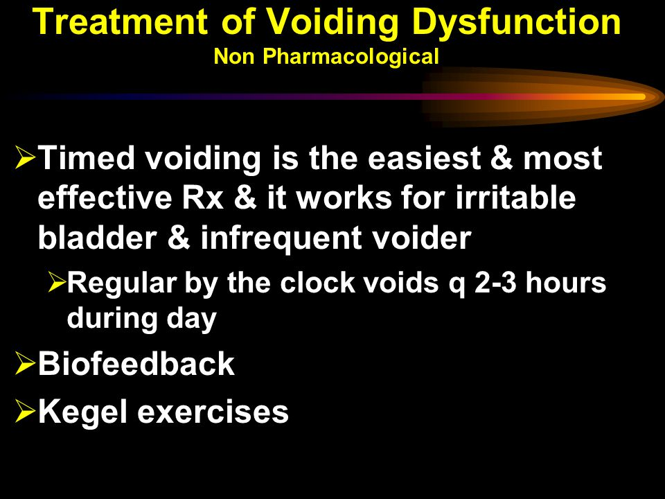 Treatment of Voiding Dysfunction Non Pharmacological