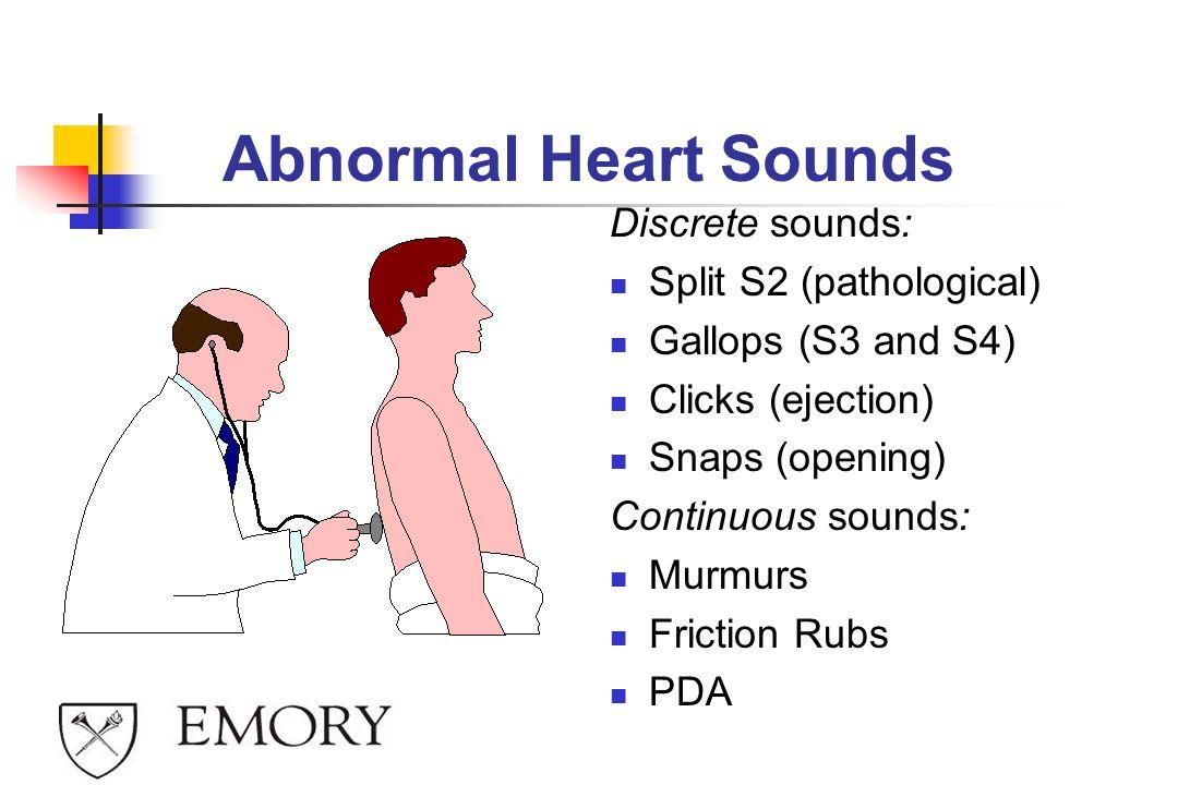 Abnormal Heart Sounds Discrete sounds: Split S2 (pathological)