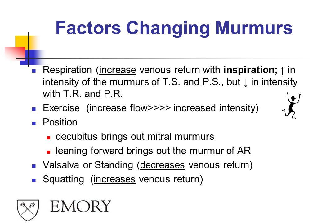 Factors Changing Murmurs
