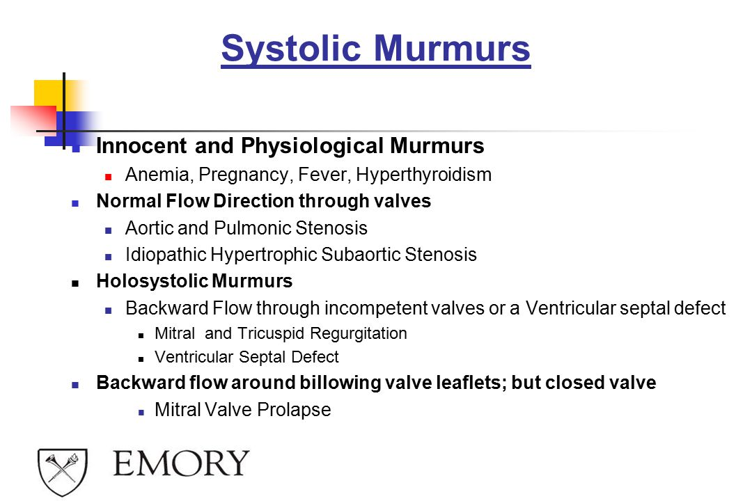 Systolic Murmurs Innocent and Physiological Murmurs