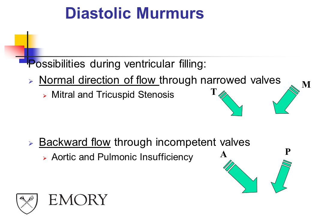 Diastolic Murmurs Possibilities during ventricular filling: