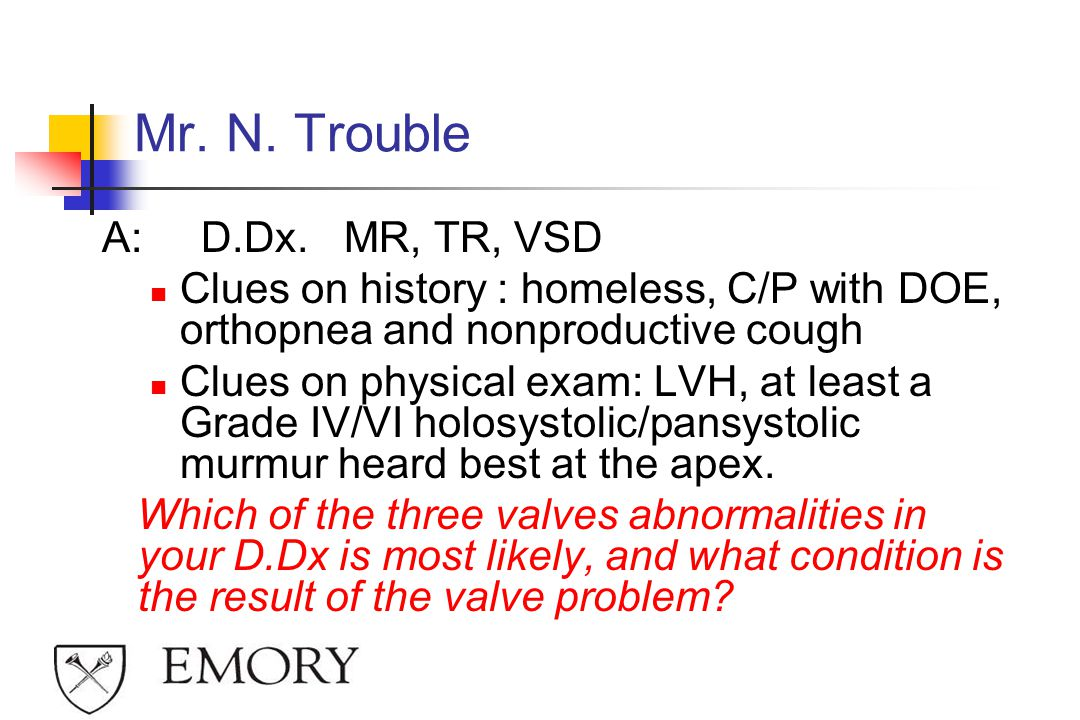 Mr. N. Trouble A: D.Dx. MR, TR, VSD
