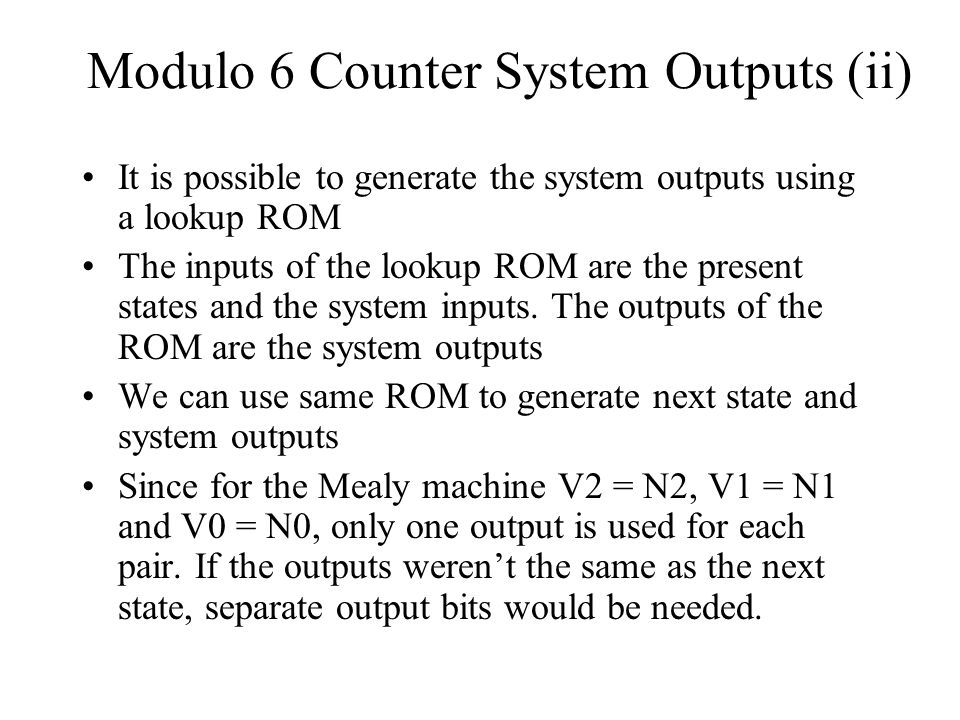 Modulo 6 Counter System Outputs (ii)