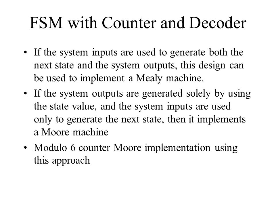FSM with Counter and Decoder