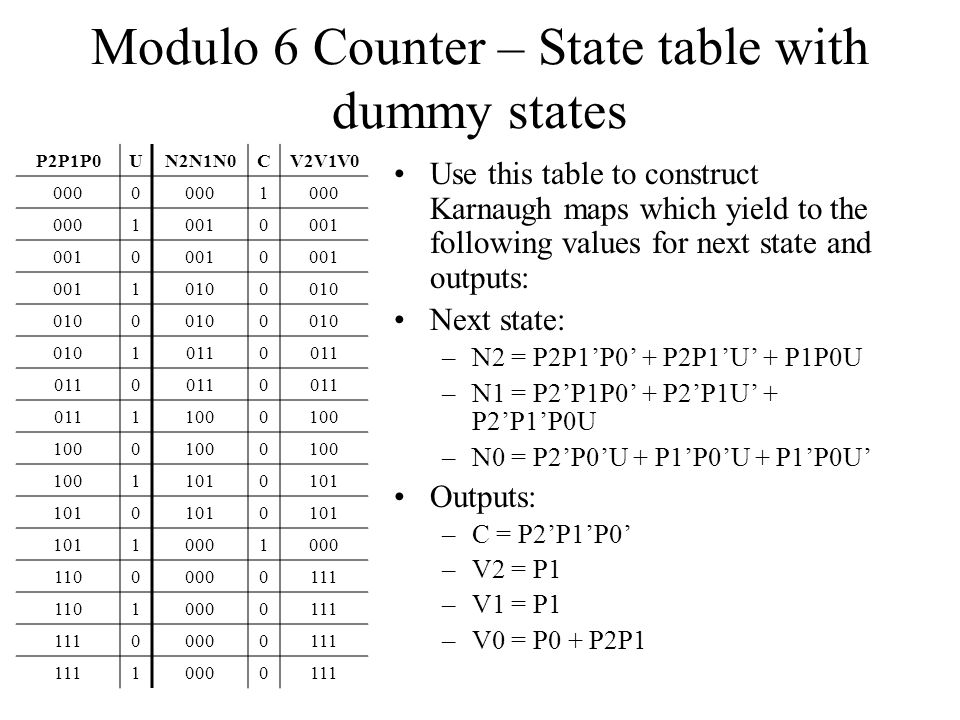 Modulo 6 Counter – State table with dummy states