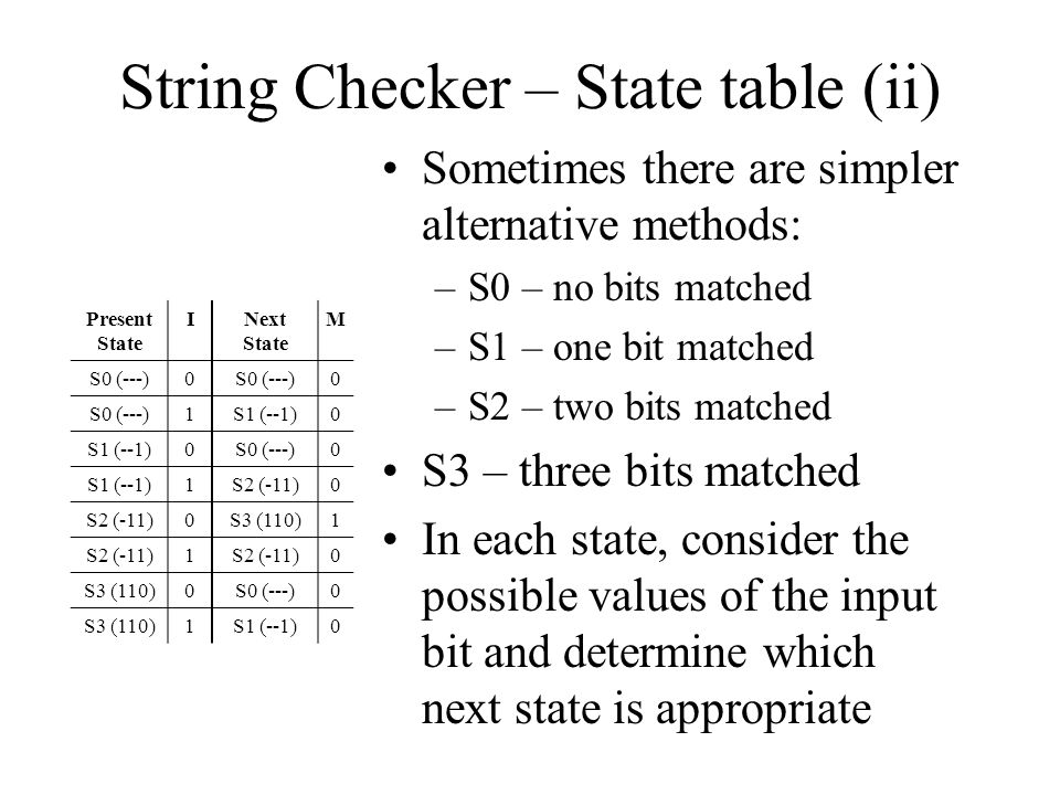 String Checker – State table (ii)