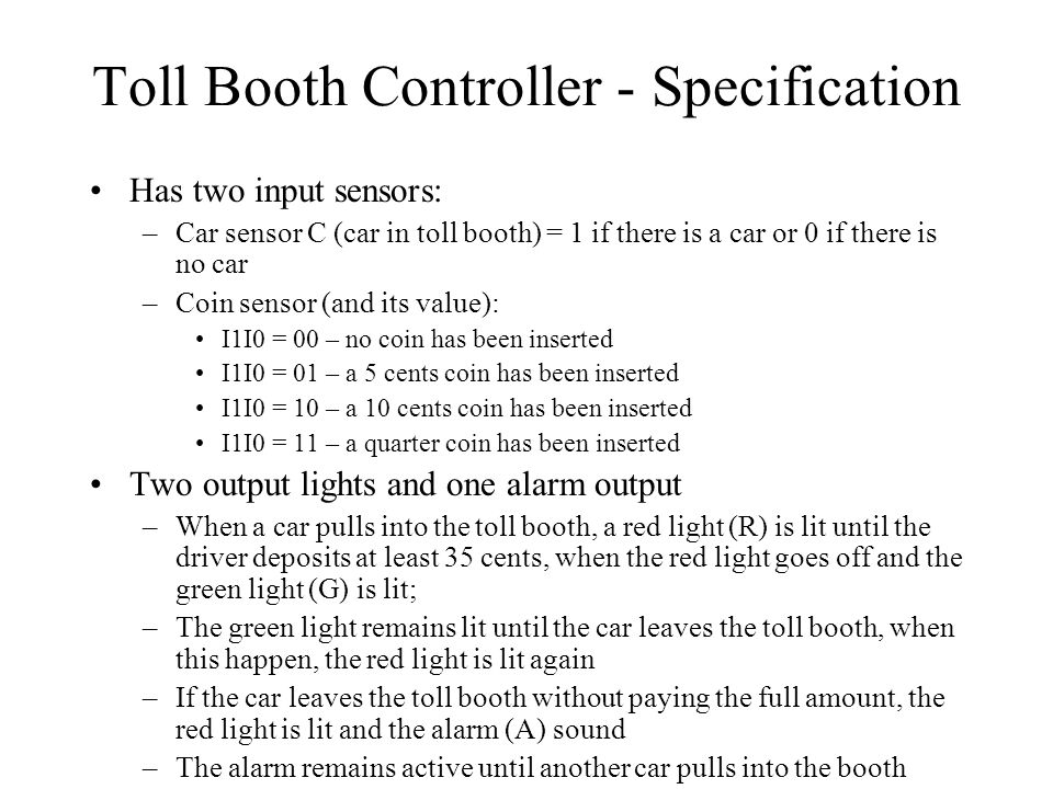 Toll Booth Controller - Specification