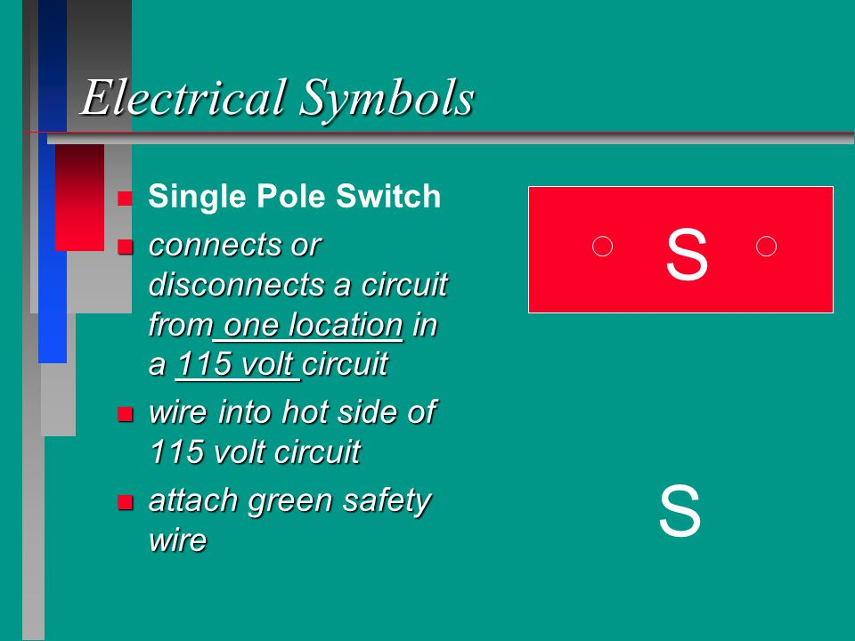 S S Electrical Symbols Single Pole Switch