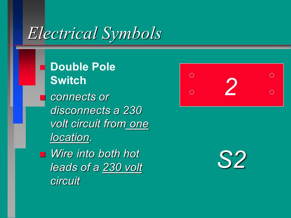 2 S2 Electrical Symbols Double Pole Switch