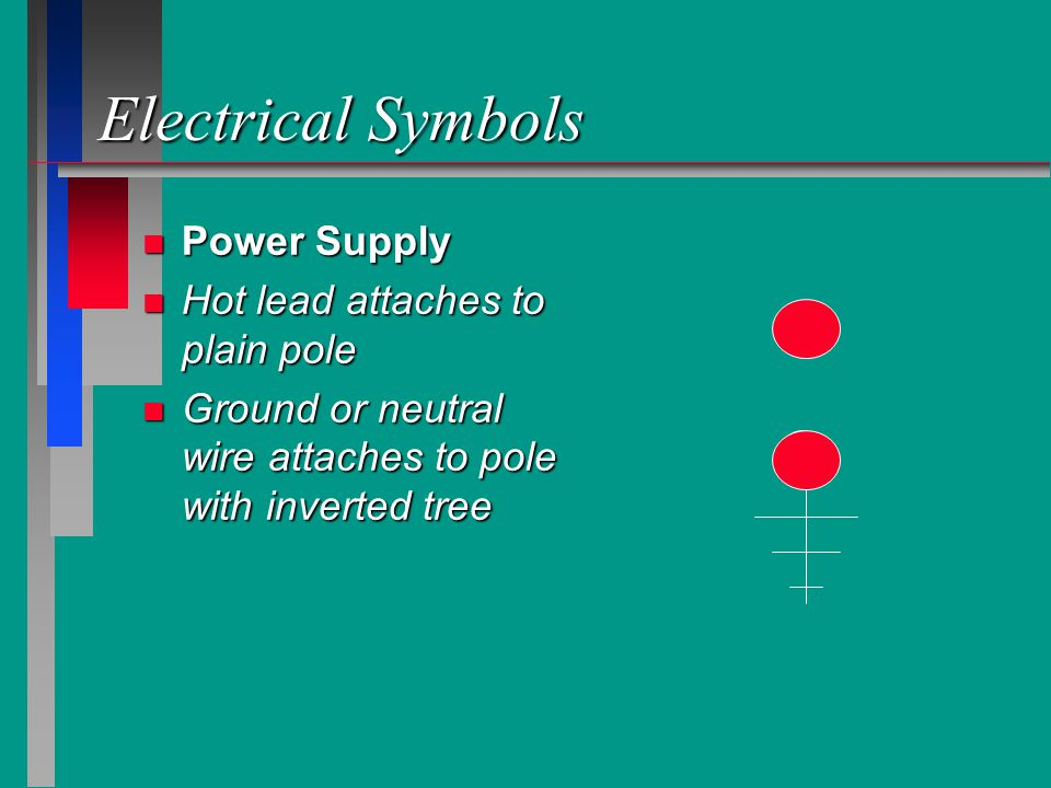 Electrical Symbols Power Supply Hot lead attaches to plain pole