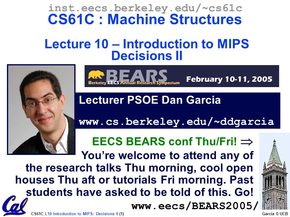 Lecturer PSOE Dan Garcia www.cs.berkeley.edu/~ddgarcia