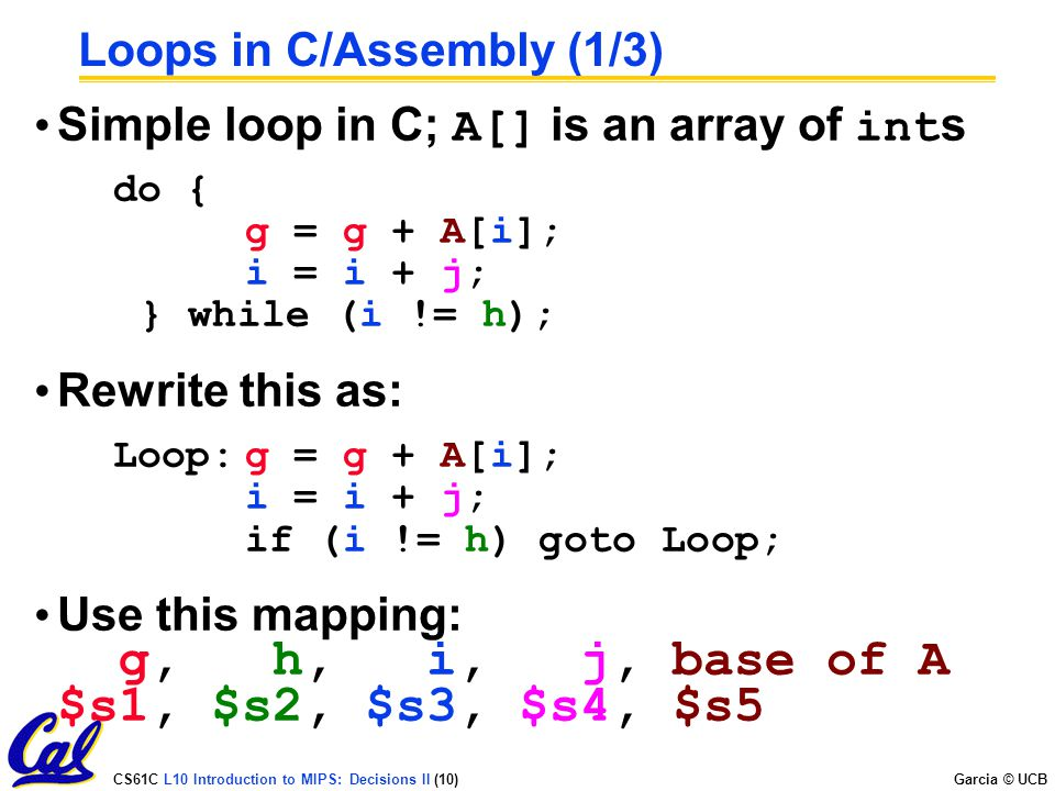 Loops in C/Assembly (1/3)