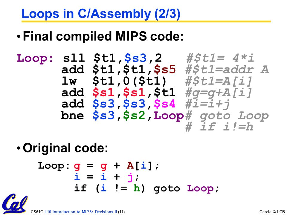 Loops in C/Assembly (2/3)