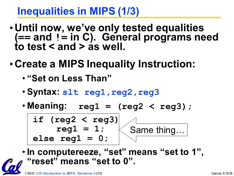 Inequalities in MIPS (1/3)