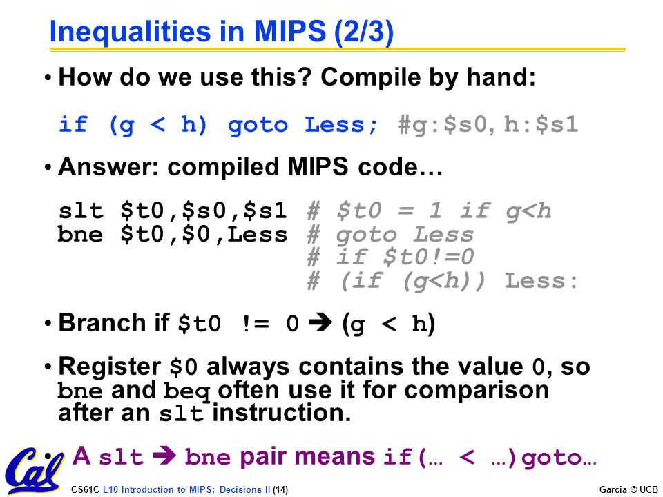 Inequalities in MIPS (2/3)