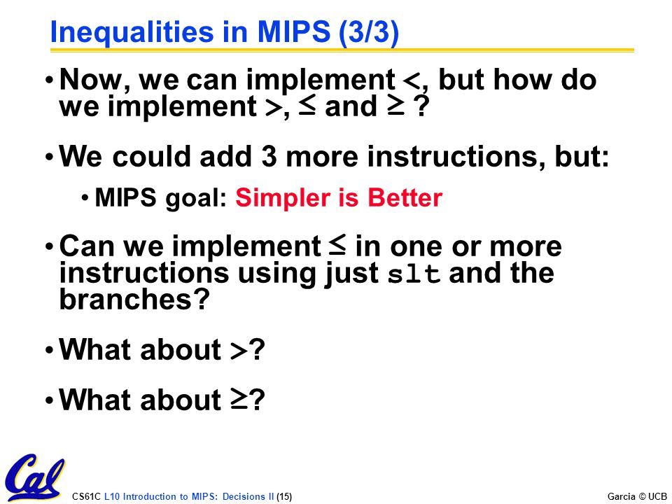 Inequalities in MIPS (3/3)