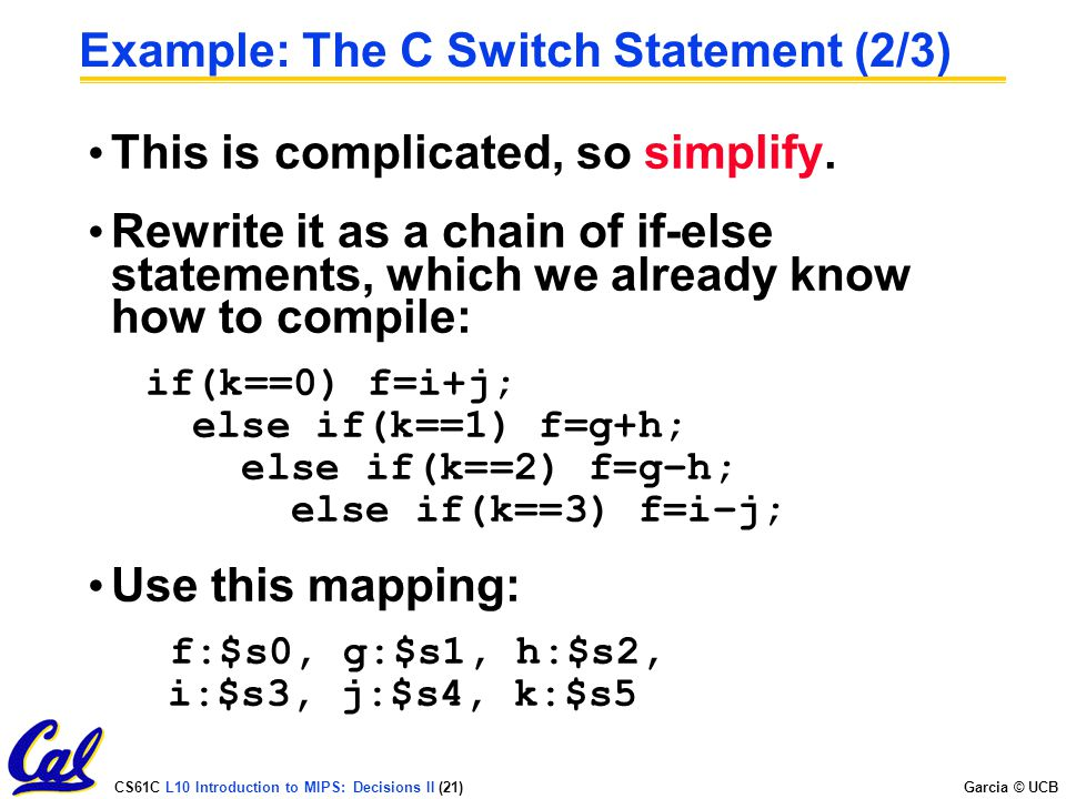 Example: The C Switch Statement (2/3)