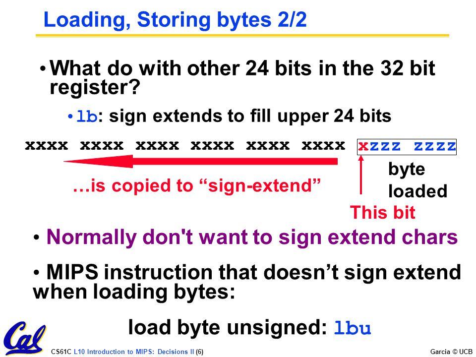 Loading, Storing bytes 2/2