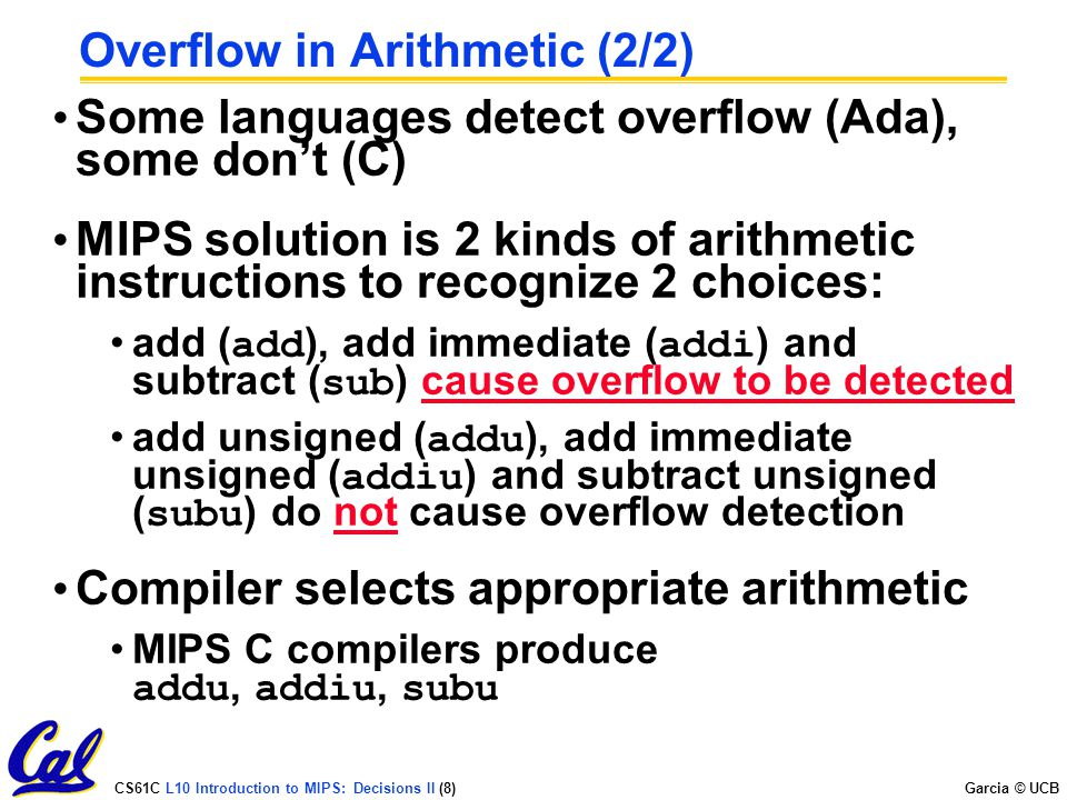 Overflow in Arithmetic (2/2)