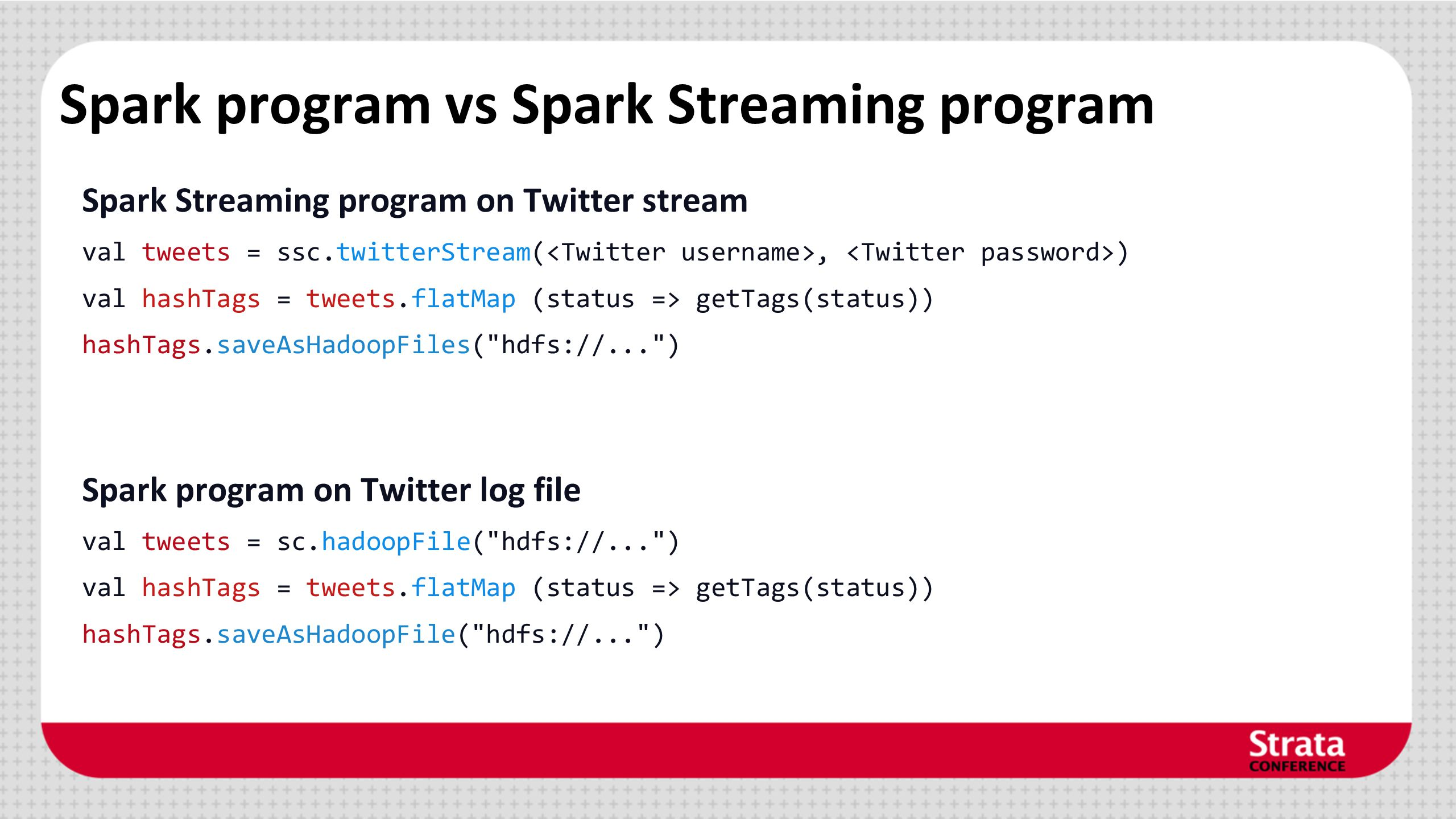 Spark program vs Spark Streaming program
