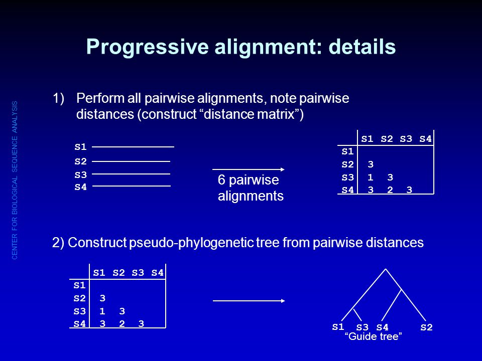 Progressive alignment: details
