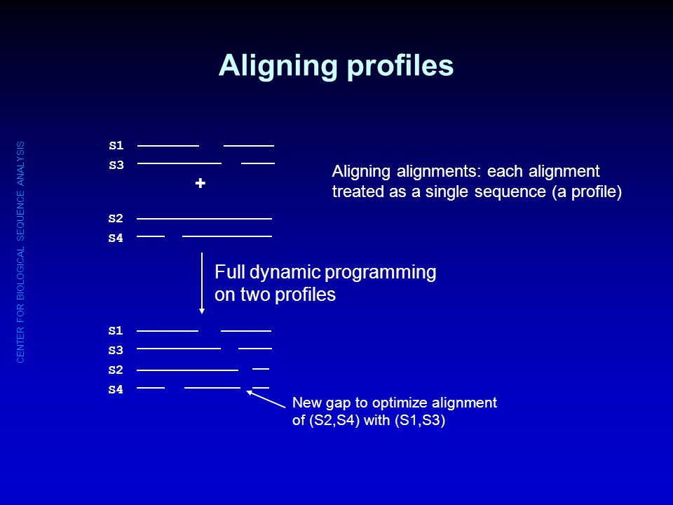 Aligning profiles + Full dynamic programming on two profiles