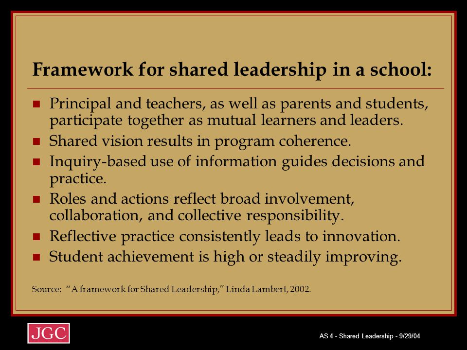 Framework for shared leadership in a school: