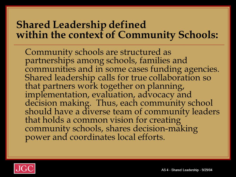 Shared Leadership defined within the context of Community Schools: