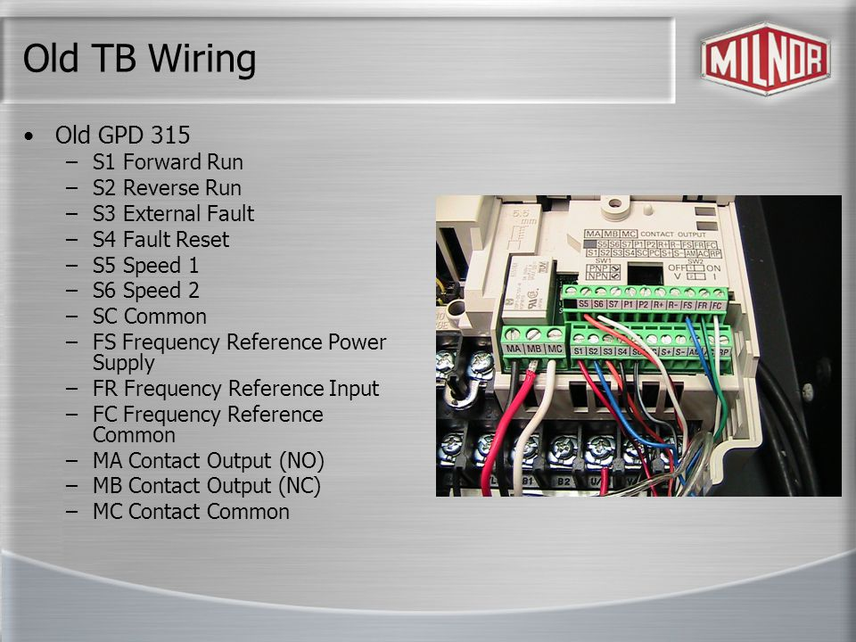 Old TB Wiring Old GPD 315 S1 Forward Run S2 Reverse Run